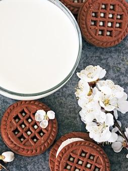 Chocolate cookies with white cream and sakura flowers