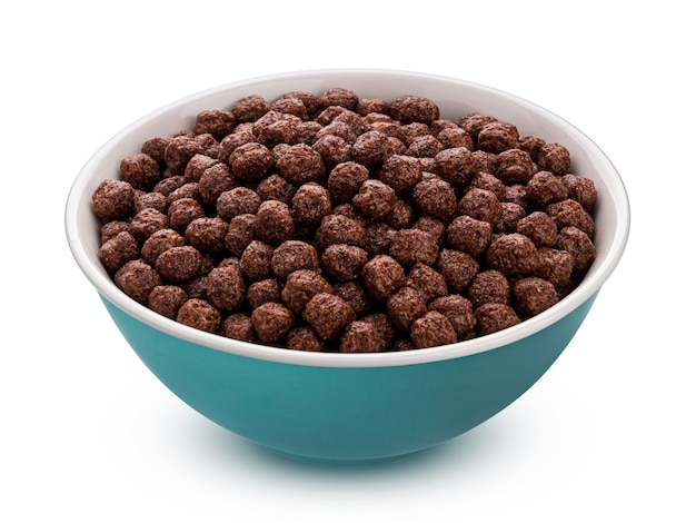 Chocolate corn balls in bowl isolated on white background with clipping path, healthy breakfast cereal