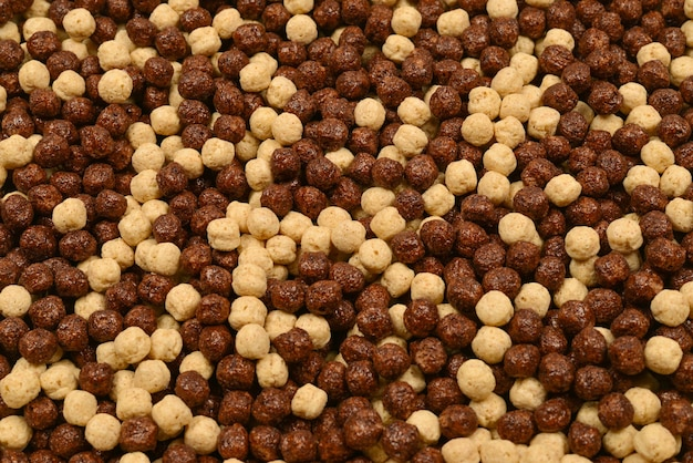 Chocolate corn flakes  as a background.