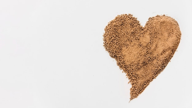 Chocolate crumbs in heart form