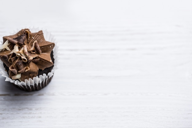 Chocolate cupcake on a table