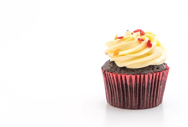 Chocolate cupcake on white
