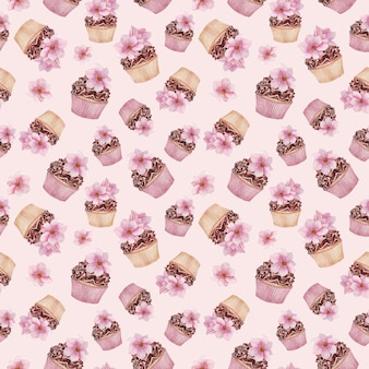 Шоколадные кексы бесшовные модели, цветы магнолии, акварельные десерты
