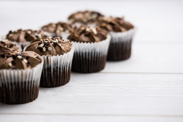 Chocolate cupcakes on a table