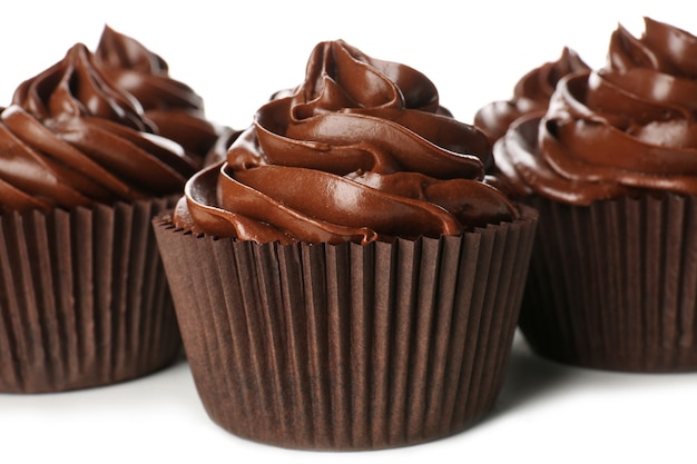 Chocolate cupcakes on white