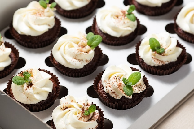 Chocolate cupcakes with cheese cream and mint leaves in delivery box