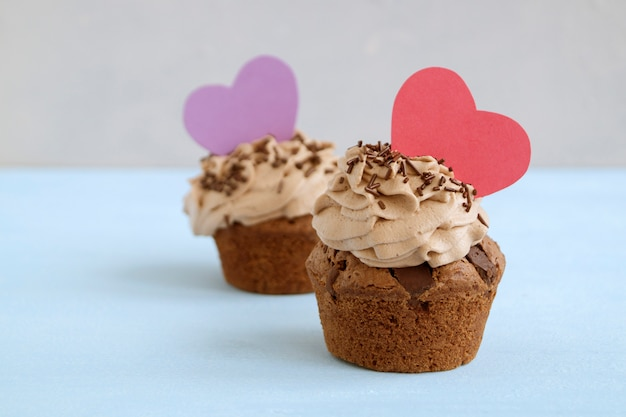 Chocolate cupcakes with chocolate pieces. homemade cake.