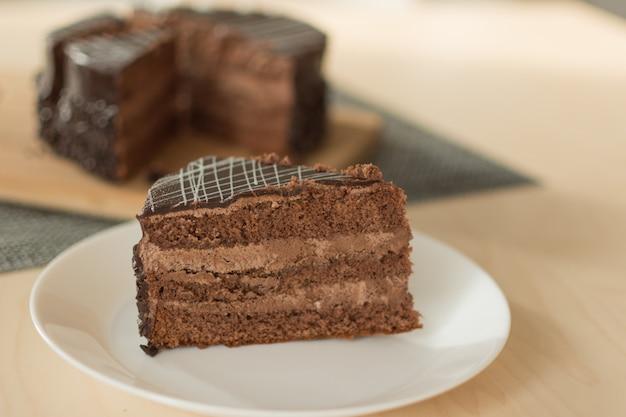 Chocolate cut cake top view.