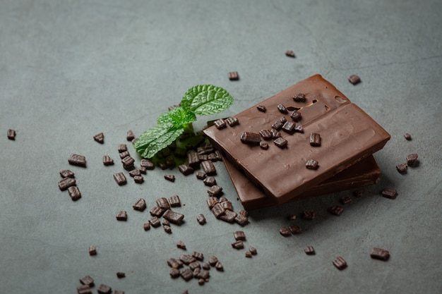 Chocolate on the dark surface. world chocolate day concept