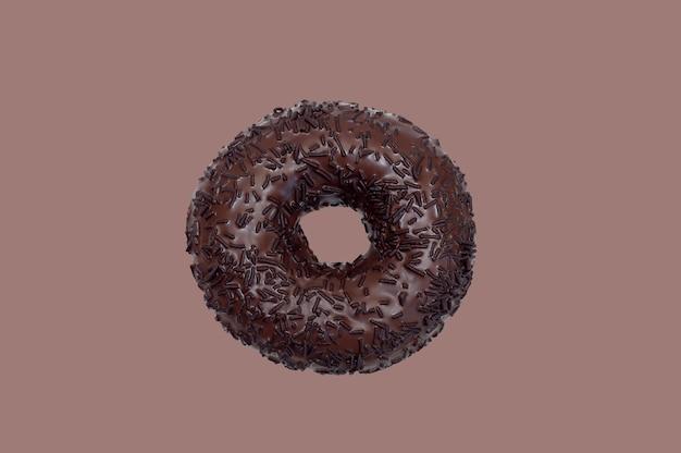 Шоколадный пончик на коричневом фоне