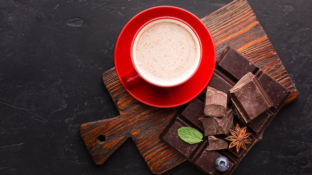 Chocolate drink in flat lay