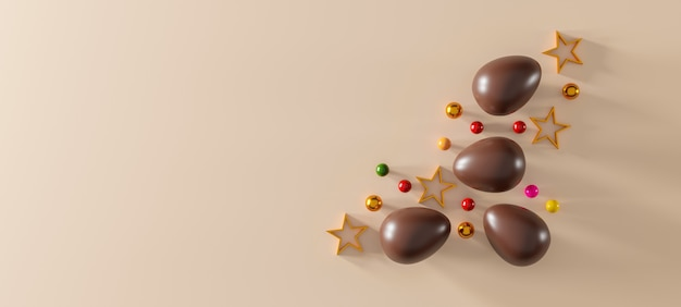 Chocolate easter eggs on brown background. top view. flat lay. 3d illustration