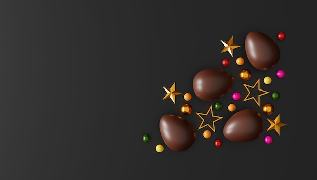 Chocolate easter eggs on dark background. top view. flat lay. 3d illustration