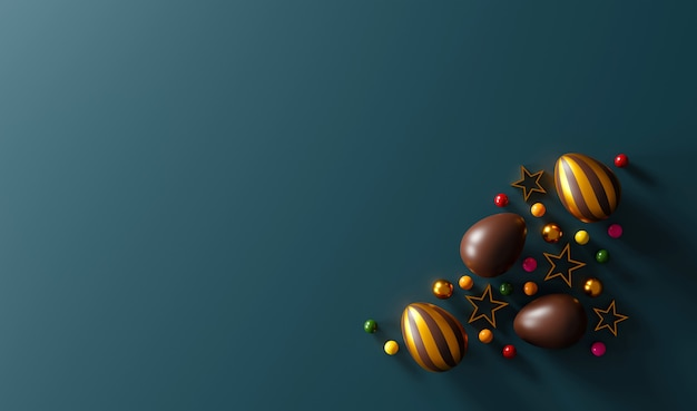 Chocolate easter eggs on green dark background. top view. flat lay. 3d illustration