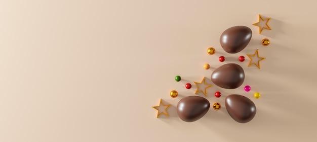 갈색 바탕에 초콜릿 부활절 달걀입니다. 평면도. 평평한 평신도. 3d 일러스트레이션