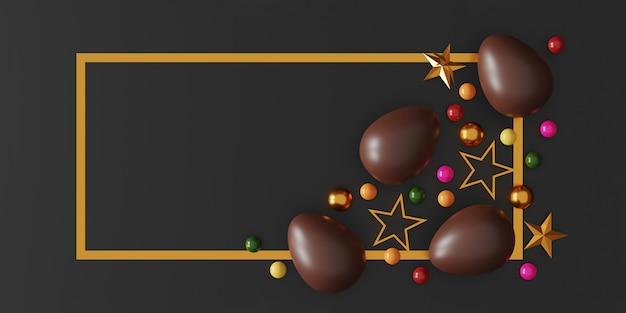 어두운 배경에 초콜릿 부활절 달걀입니다. 평면도. 평평한 평신도. 3d 일러스트레이션