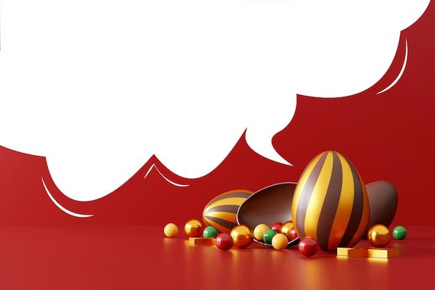 레드에 초콜릿 부활절 달걀
