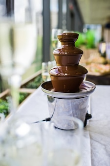 Chocolate fountain on the buffet table in the restaurant