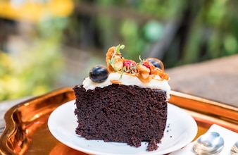 Chocolate fruit cake with caramel