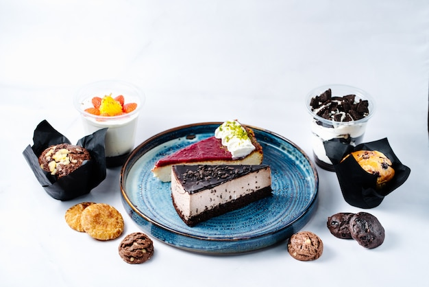 Chocolate and fruit dessert on plate