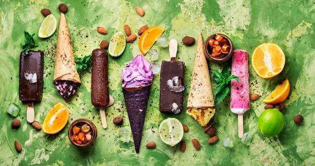Chocolate and fruit ice cream