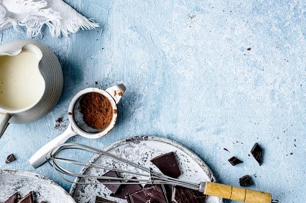 キッチンフラットレイのチョコレートガナッシュトリュフの材料