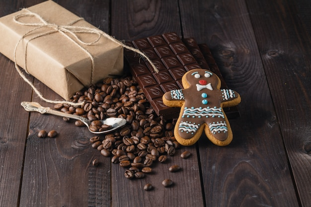 Chocolate, gingerbread man and coffee beans