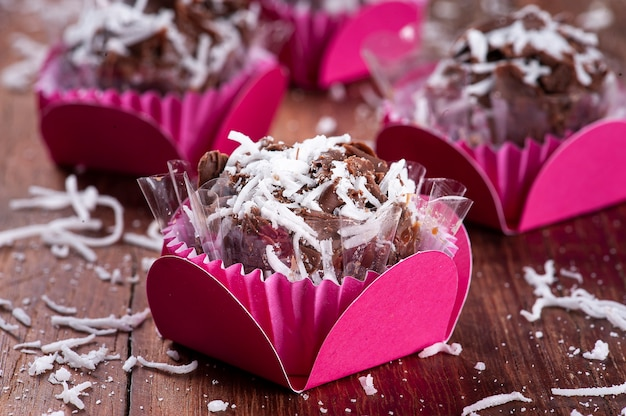 Chocolate gourmet brigadier with coconut. typical brazilian sweet.