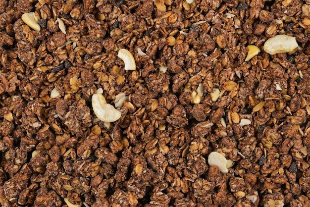 Chocolate granola background.