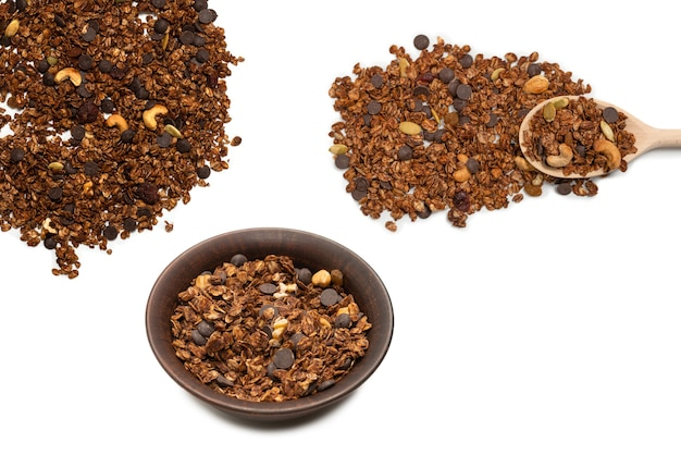 Chocolate granola cereal with nuts. isolated on white bacckground.
