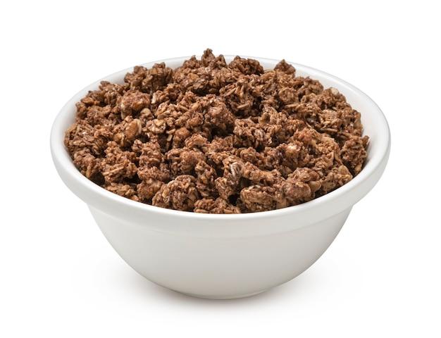 흰색 배경에 고립 된 초콜릿 그라 놀라 바삭 바삭한 muesli