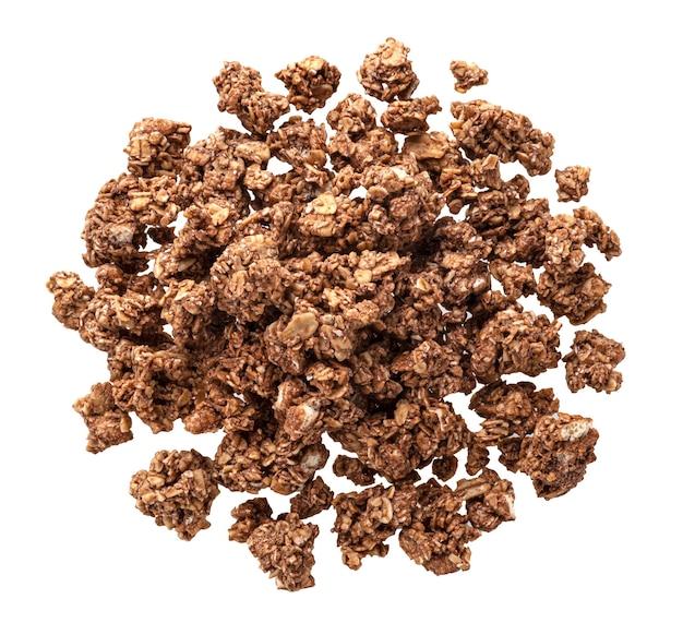 Chocolate granola, crunchy muesli isolated on white background
