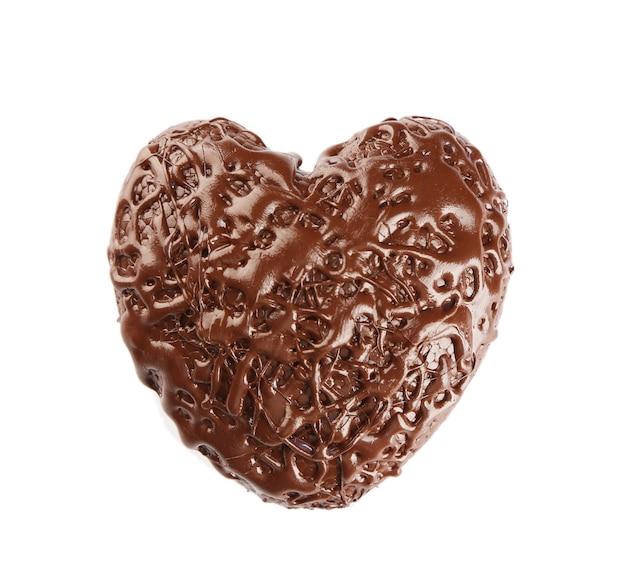 Шоколадное сердце, на белом