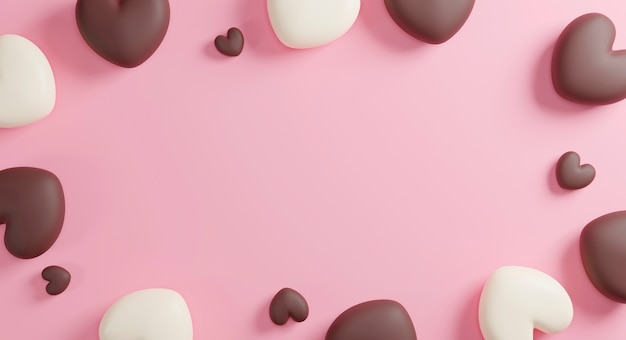 Chocolate hearts on pink paper background with copy space 3d render