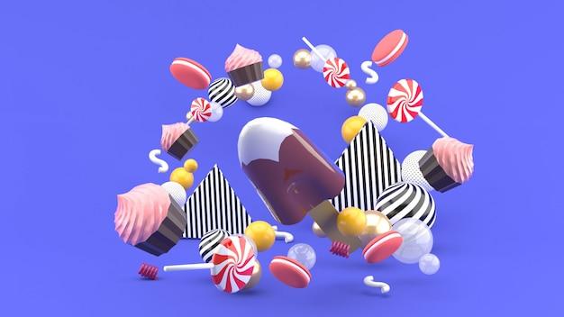 カップケーキ、マカロンドキャンディーのチョコレートアイスクリーム。 3dレンダリング。