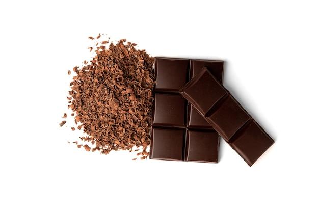 白い背景で隔離のチョコレート。