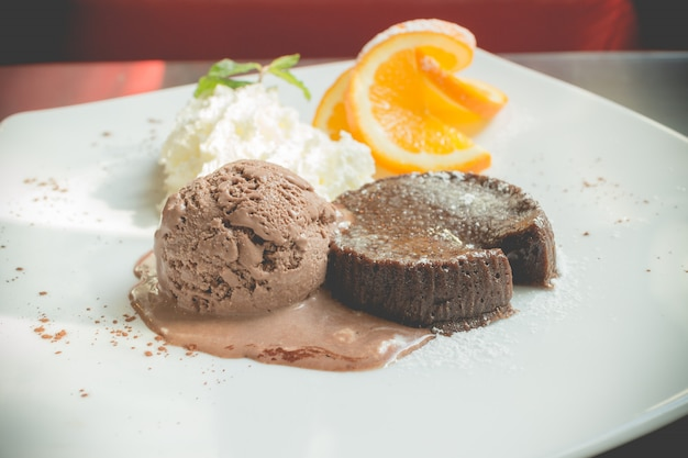 Chocolate lava cake set with ice cream