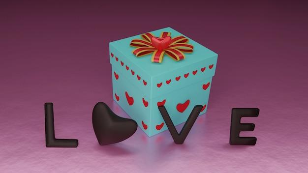 Шоколадные письма любви и подарочная коробка для празднования дня святого валентина в 3d-рендеринге
