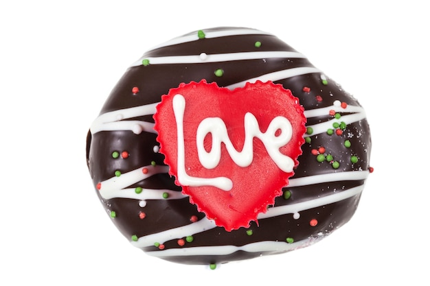 Chocolate of love in heart.