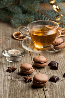 Chocolate macaroons and cup of tea
