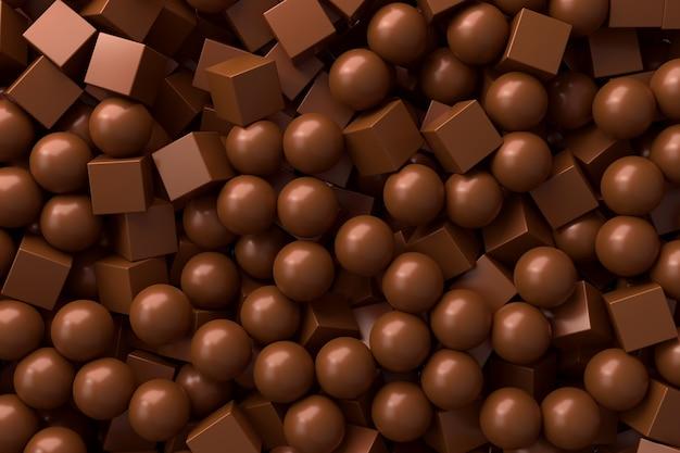 초콜릿 우유 분야 및 큐브