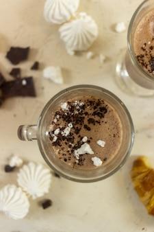 Chocolate milkshake on the table