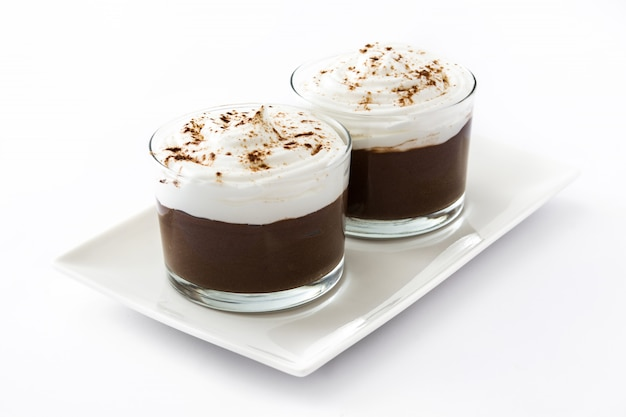 Chocolate mousse in glasses isolated on white