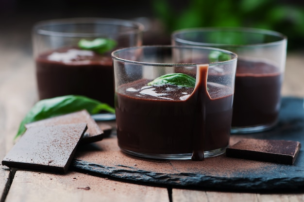 Chocolate mousse with basil