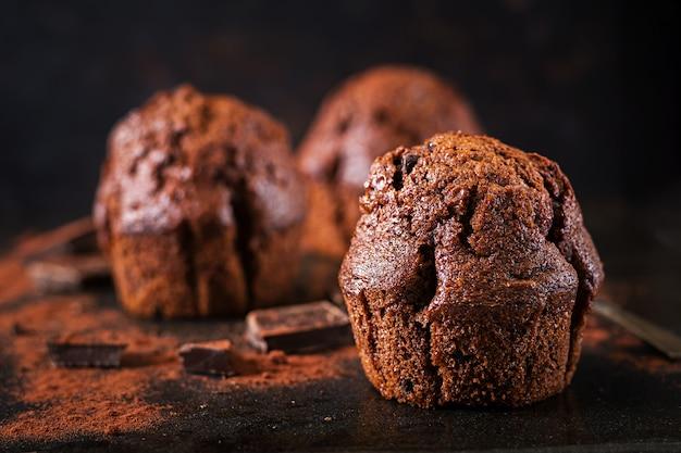Chocolate muffin on dark background.