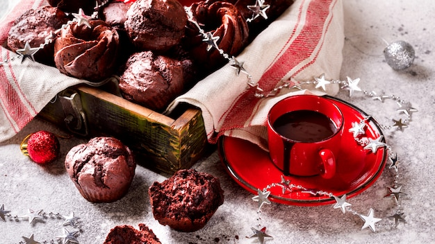 Chocolate muffins in christmas