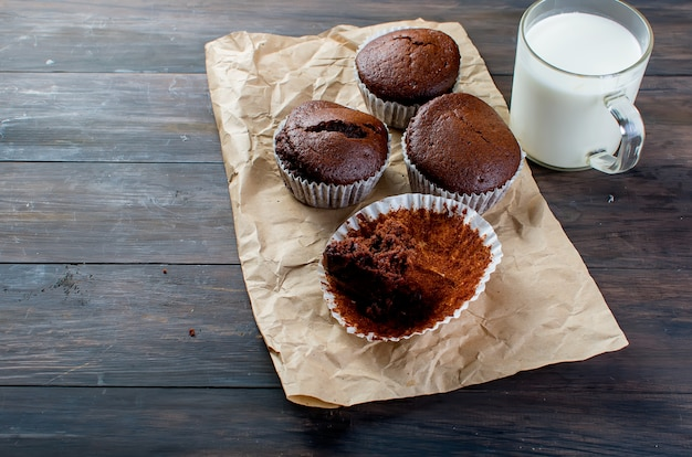 Chocolate muffins and a glass of milk