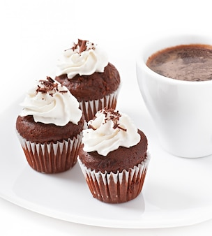 Chocolate muffins and hot chocolate drink