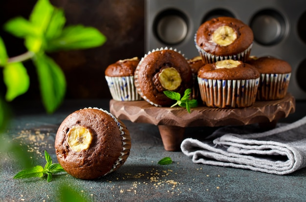 Chocolate muffins with banana