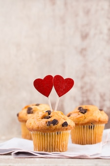 Chocolate muffins with heart